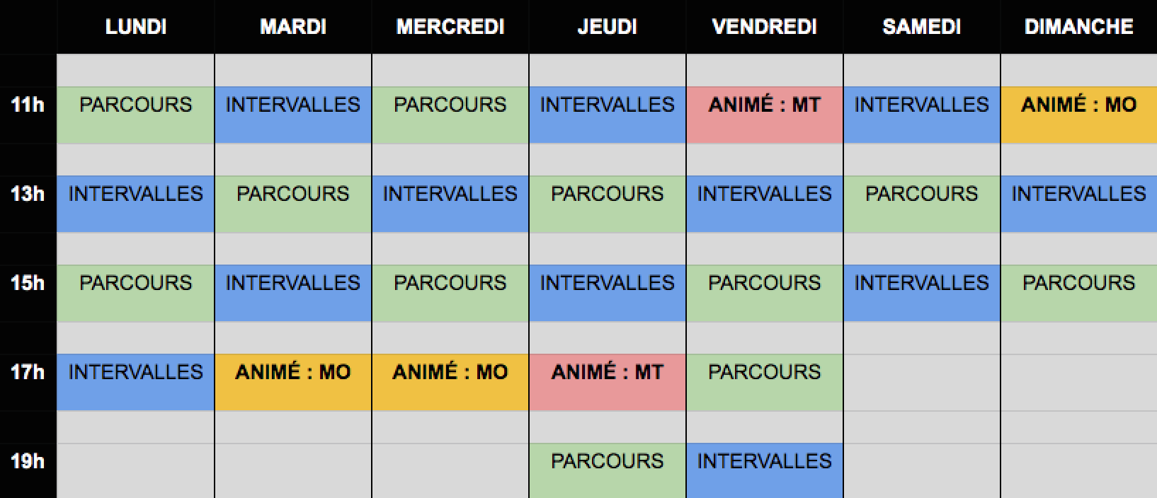 horaires cours spinning mont tremblant 2019-2020