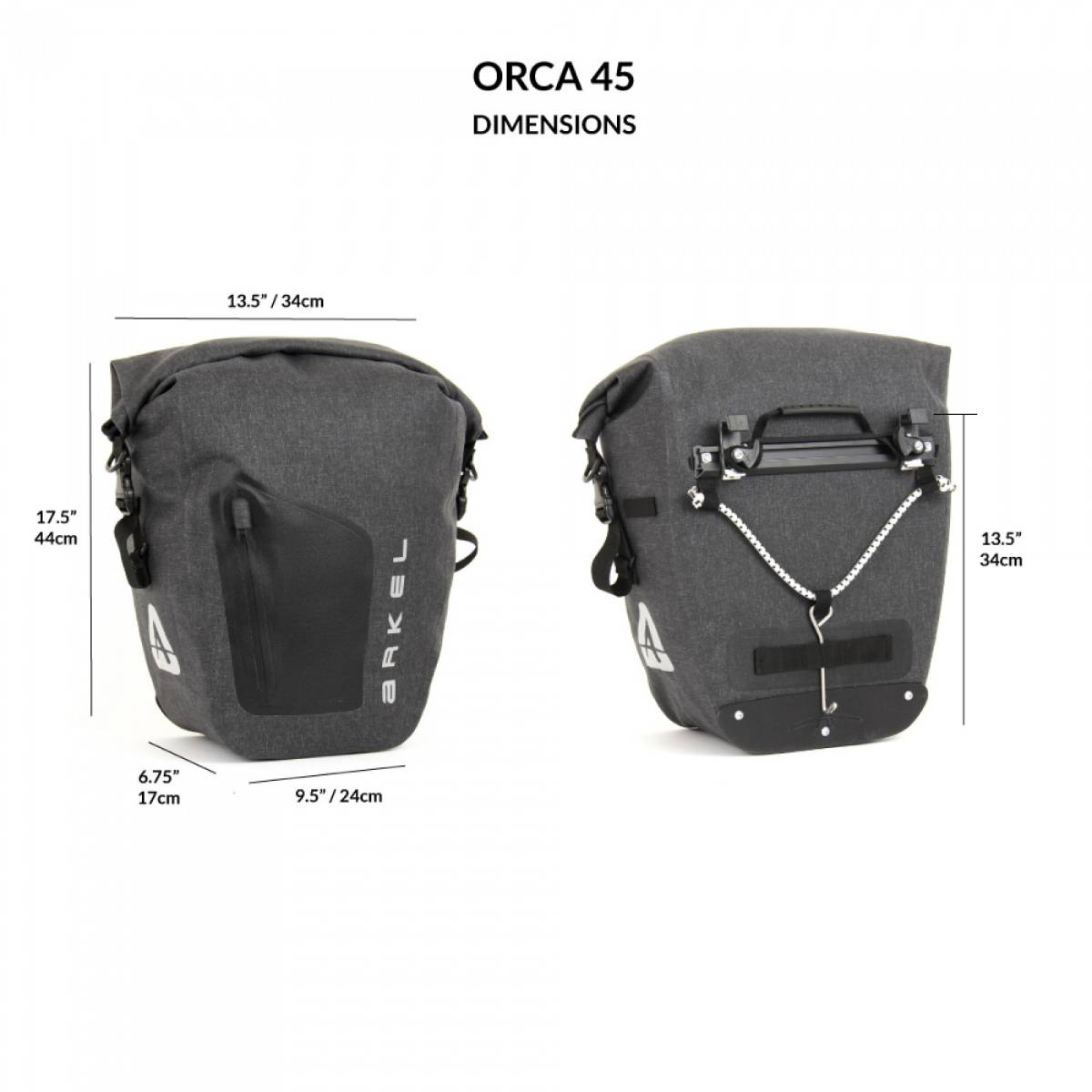 SACOCHES ARKEL ORCA 45 - PAIRE - ROUGE