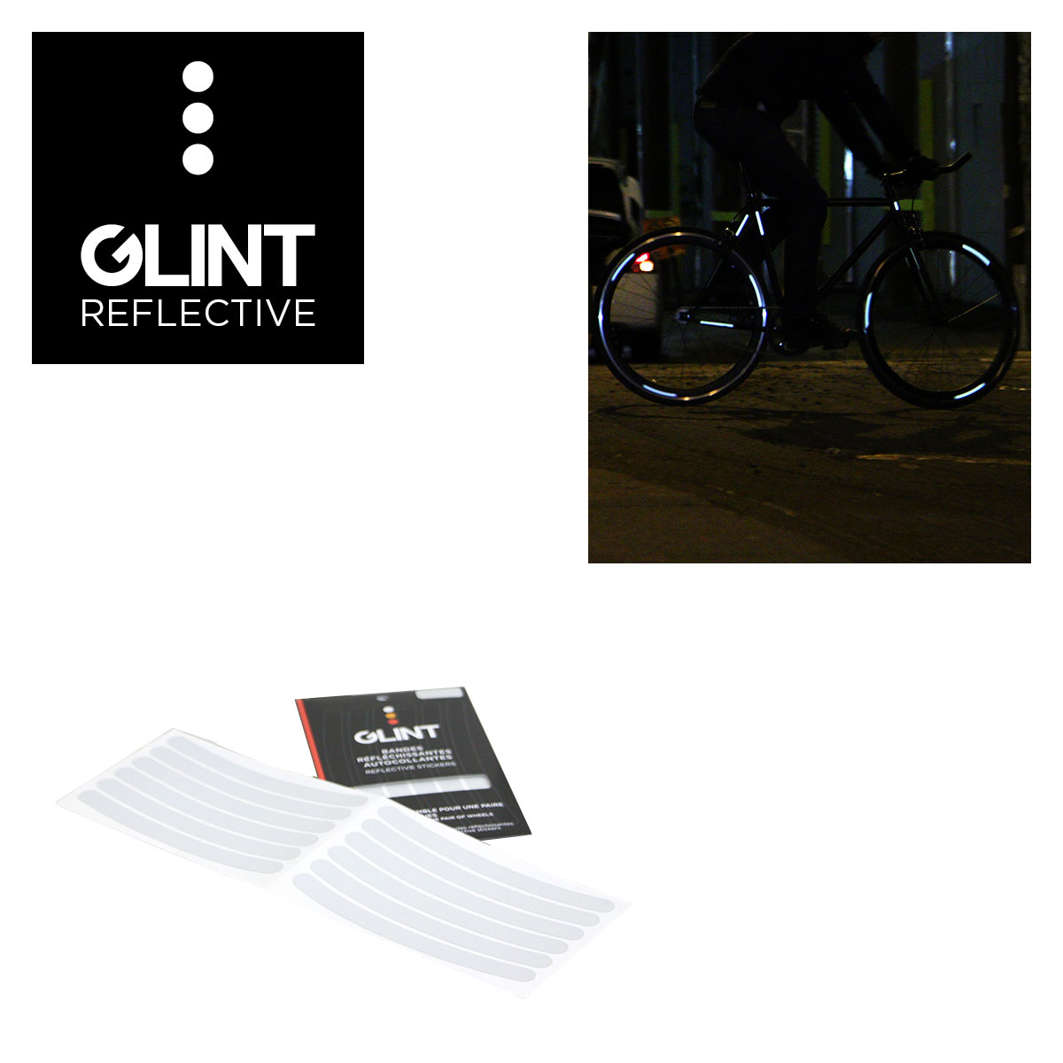ENSEMBLE DE COLLANTS REFLECHISSANTS POUR ROUES GLINT REFLECTIVE BLANC